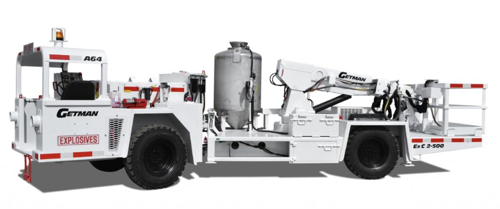 Getman ExC 2-500 ANFO Emulsion Loader underground mining equipment support vehicle amalgamated